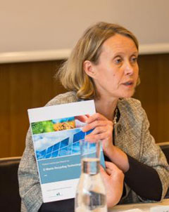 Kerstin Stendahl delivers opening remarks at the launch of the Patent Landscape Report on E-Waste Recycling Technologies